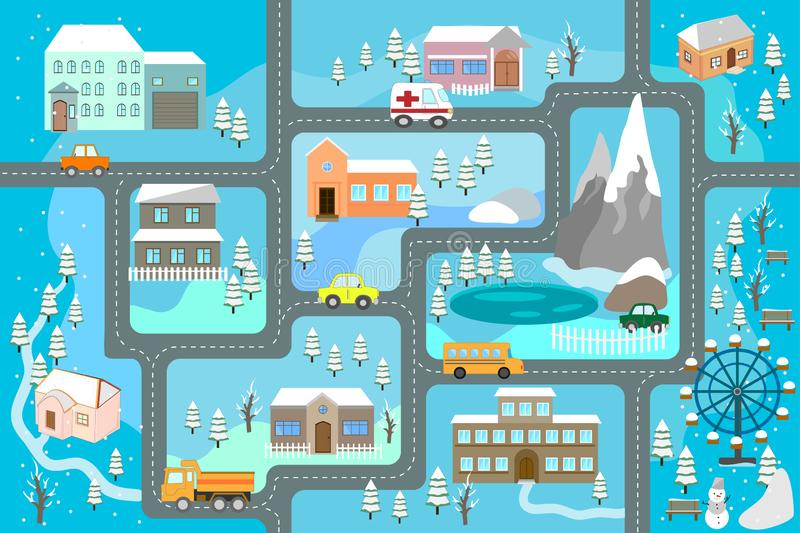 City map for children. Snowy city landscape, car track - play mat. royalty free illustration