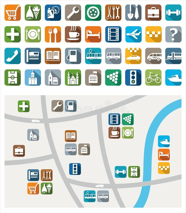 City map, color icons, service, urban services. royalty free illustration