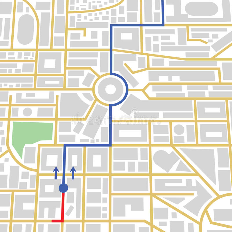 City map in gps. City road map with route