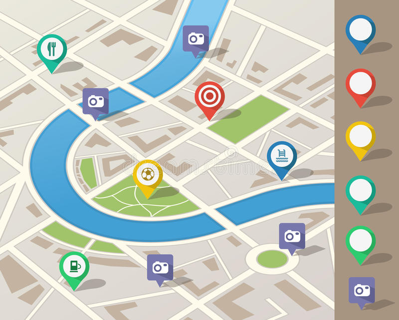 City map illustration. With location pins
