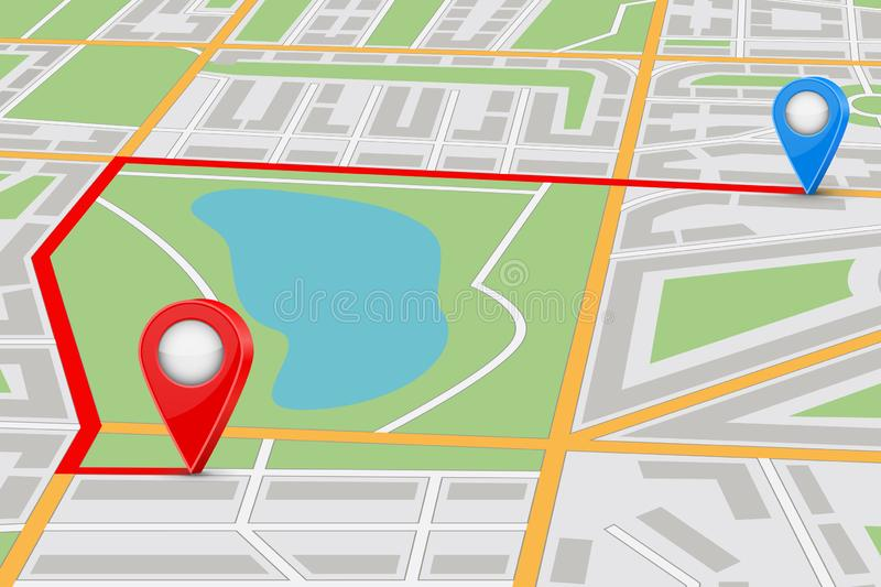 City map with itinerary. Vector 3d illustration stock illustration