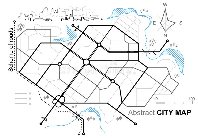 City map. Line scheme of roads. Town streets on the plan. Urban environment, architectural background. Linear architectural sketch general plan. Vector stock illustration