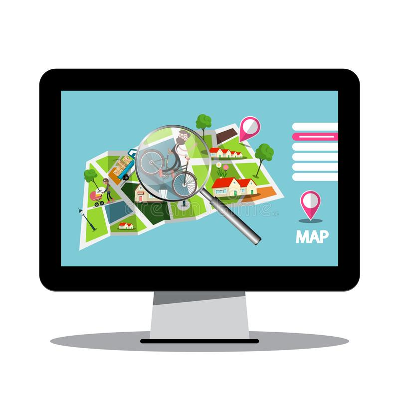City Map with Magnifying Glass on Computer Screen stock illustration