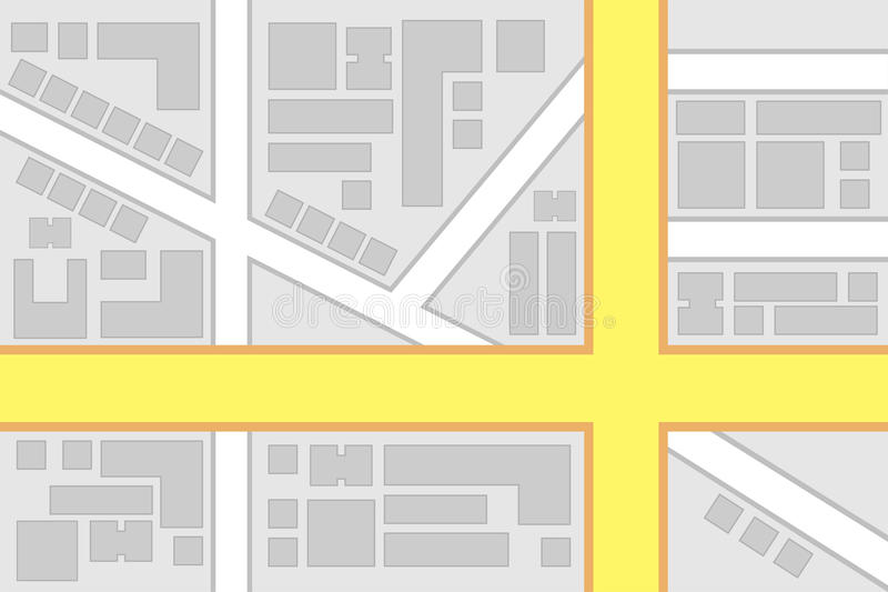 City Map Main Roads Intersection. Illustration royalty free illustration