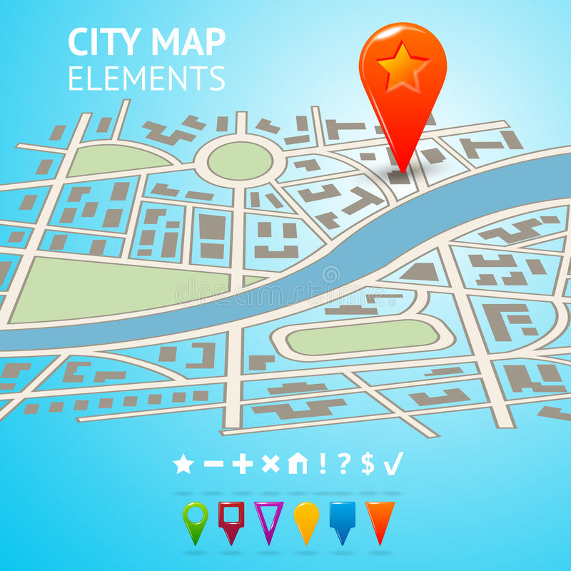 Download City Map With Navigation Markers Stock Vector - Illustration of road, concept: 39503003