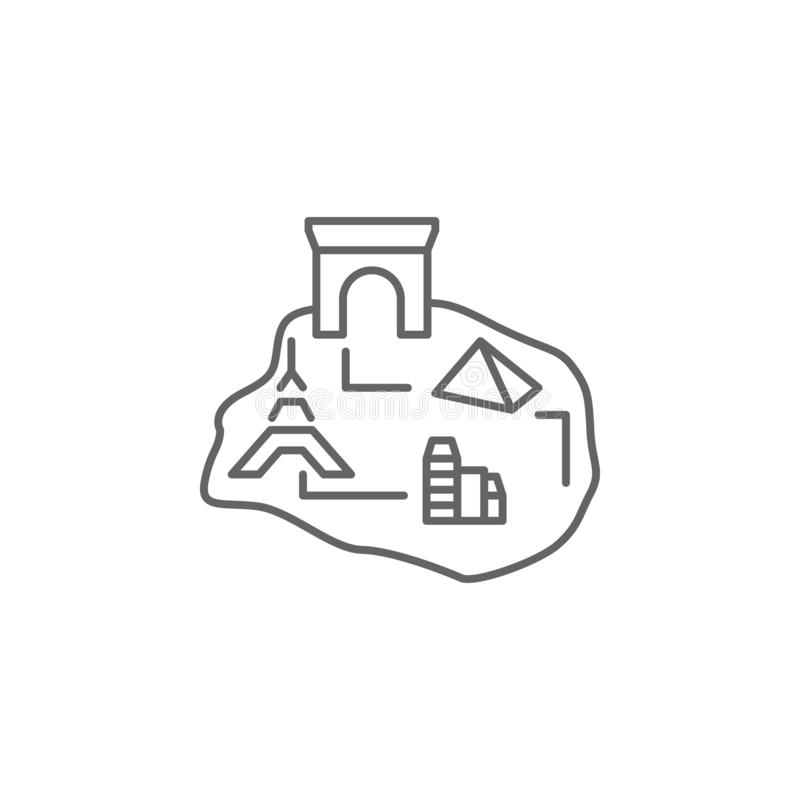 City, map, Paris icon. Element of Paris icon. Thin line icon for website design and development, app development. On white background royalty free illustration
