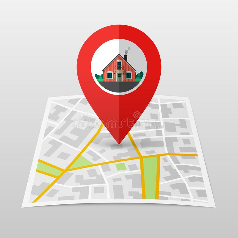 City Map with pin. City Map with Marker. Home pin icon on city`s paper map royalty free illustration