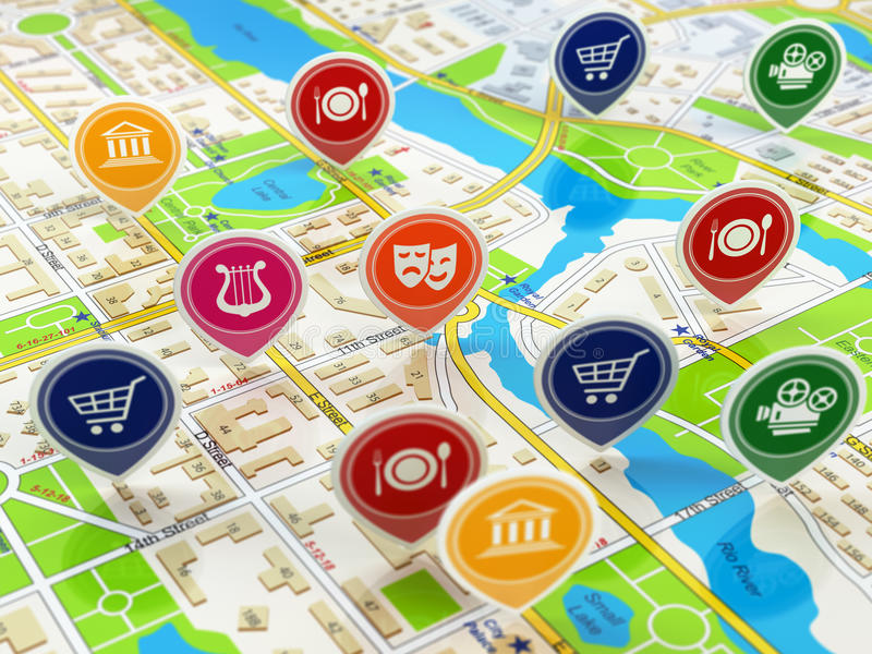 City map and pins with icons. Concept of navigation or gps. stock illustration