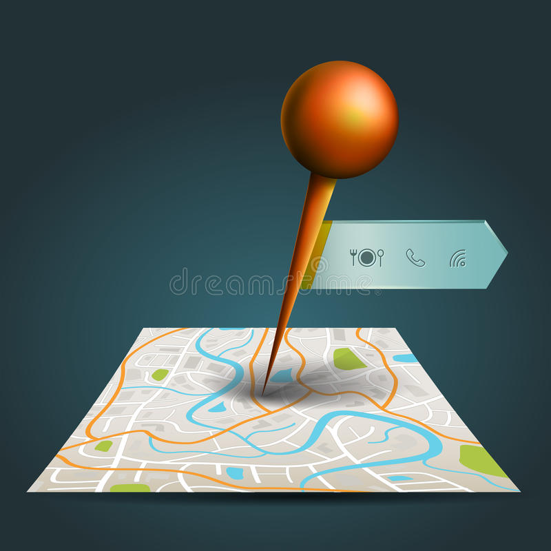 A city map with satellite gps pin point with badge label. A city map with digital satellite gps pin point with locations and wifi icon label tag with sample text royalty free illustration