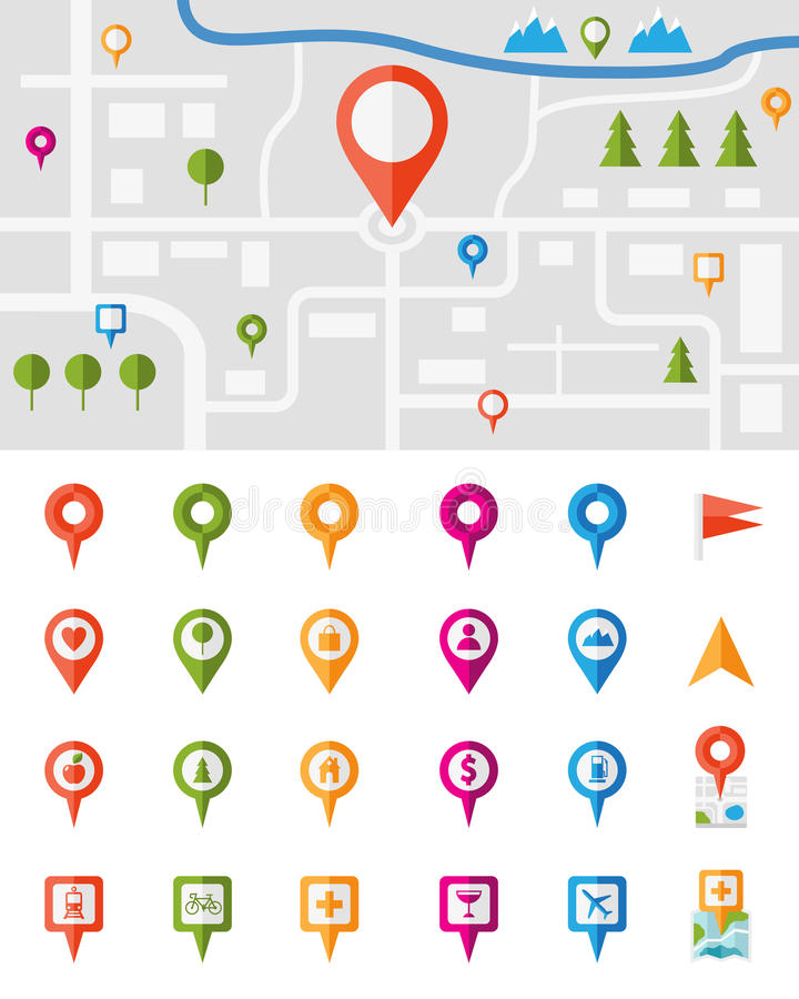 Free City Map With Pin Pointers Stock Photo - 41435300