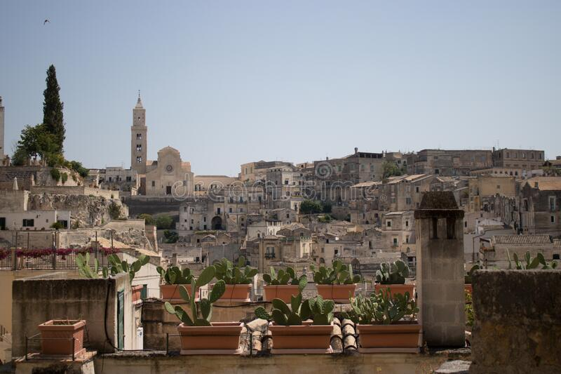 The city of Matera, Italy. Matera, Italy - August 10, 2020: the historic center of Matera in summer time stock images