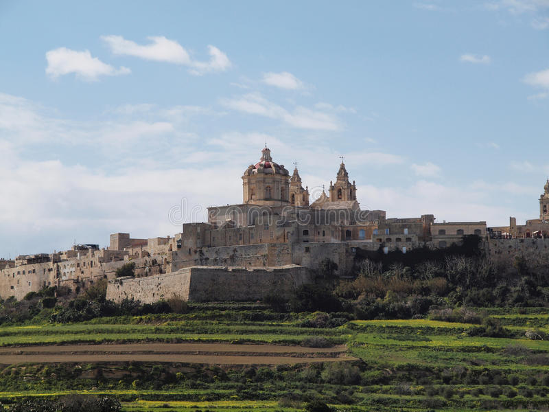 City of Mdina, Malta. The ancient former capital city of Malta Mdina. Medieval walled town sitting on a hill royalty free stock photography