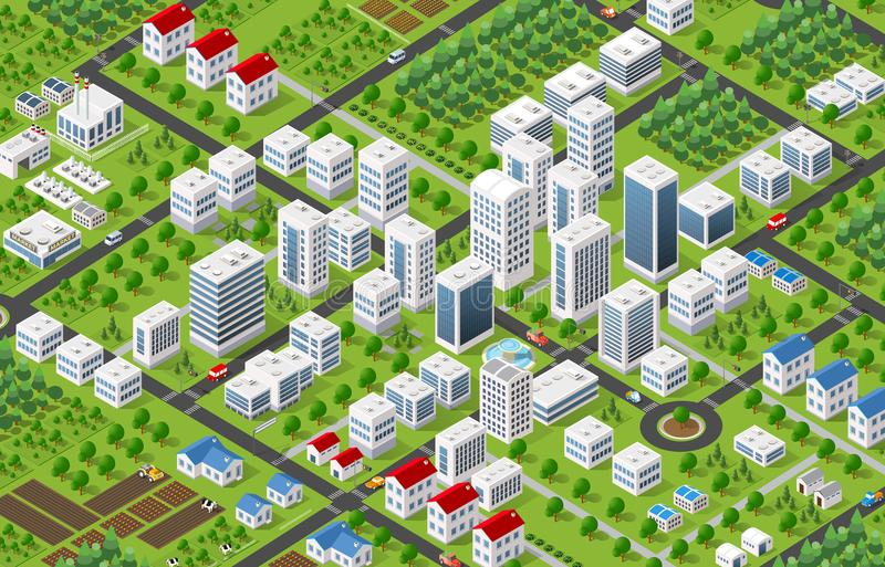 City megapolis structure. Isometric 3D city megapolis structure urban landscape top view with streets, houses, trees and transport stock illustration