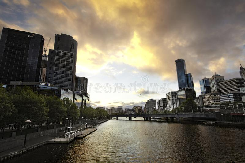 City of Melbourne. Cityscape image of Melbourne, Australia during summer sundown royalty free stock images