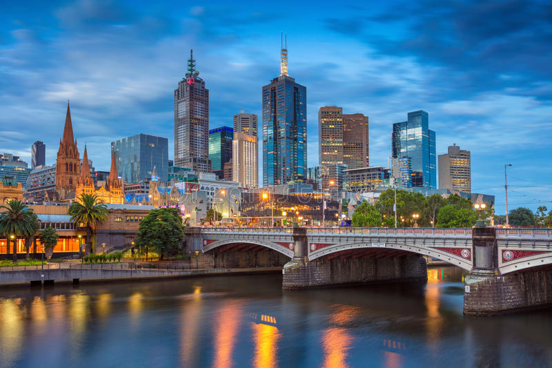City of Melbourne. Cityscape image of Melbourne, Australia during twilight blue hour