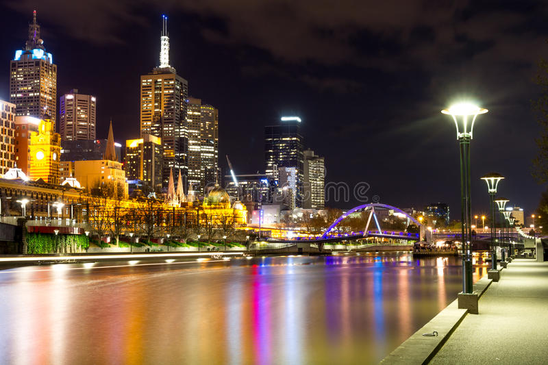 City of Melbourne - river and Southgate Footbridge stock photography