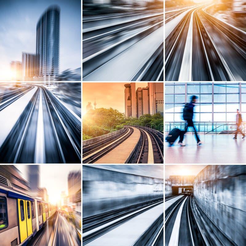 City Metro Rail collage stock photo