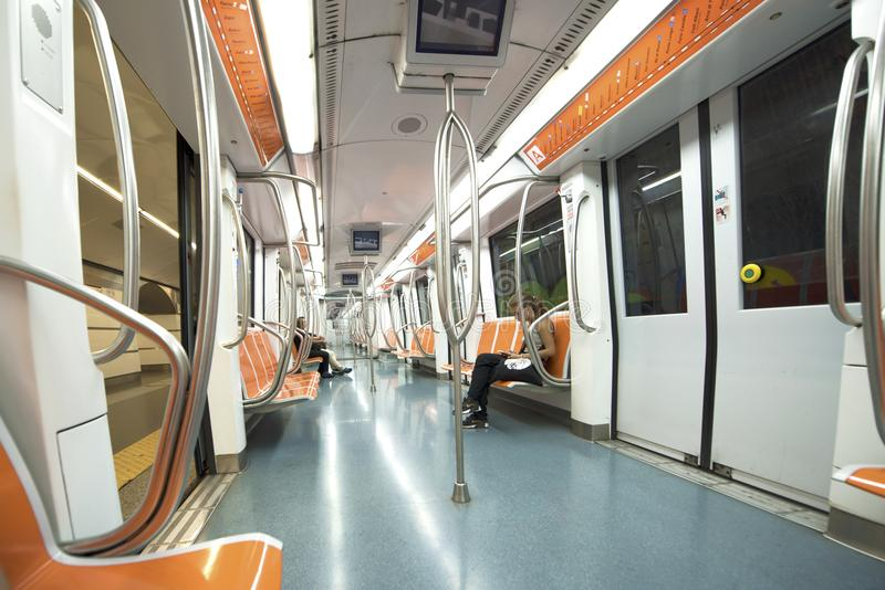 City metro wagon. In the empty subway wagon. Rome, Italy stock photography