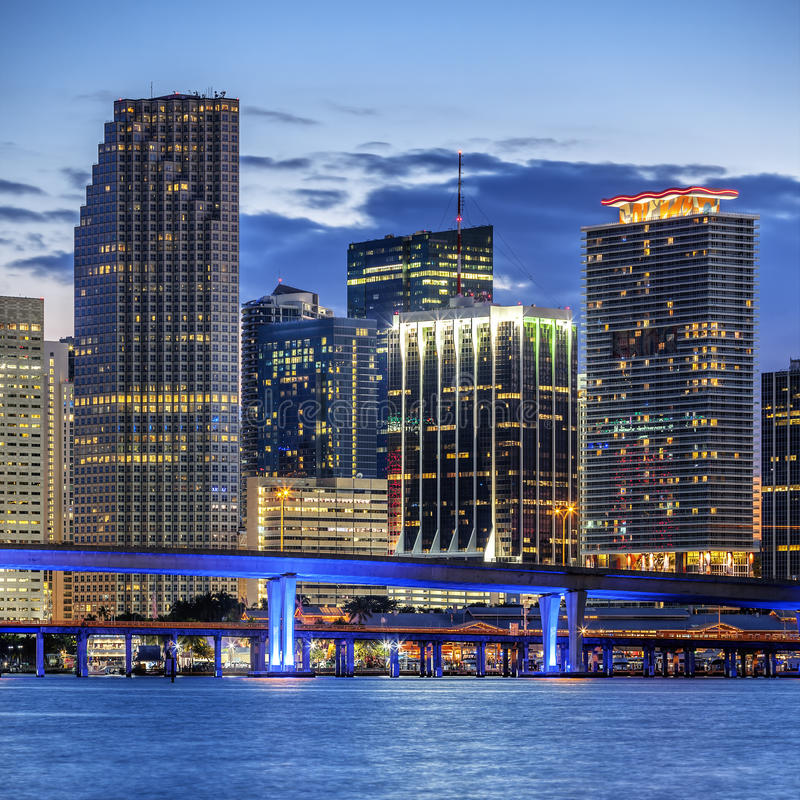 CIty of Miami Florida, illuminated business and residential buildings stock image