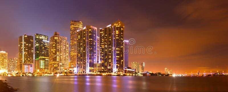 City of Miami Florida, night skyline. royalty free stock image