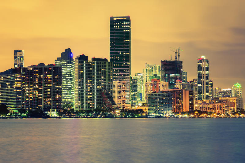 CIty of Miami, summer sunset. Famous cIty of Miami, Florida, USA, summer sunset royalty free stock photo