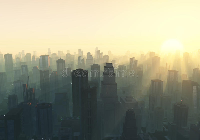 City at misty sunrise royalty free stock photography