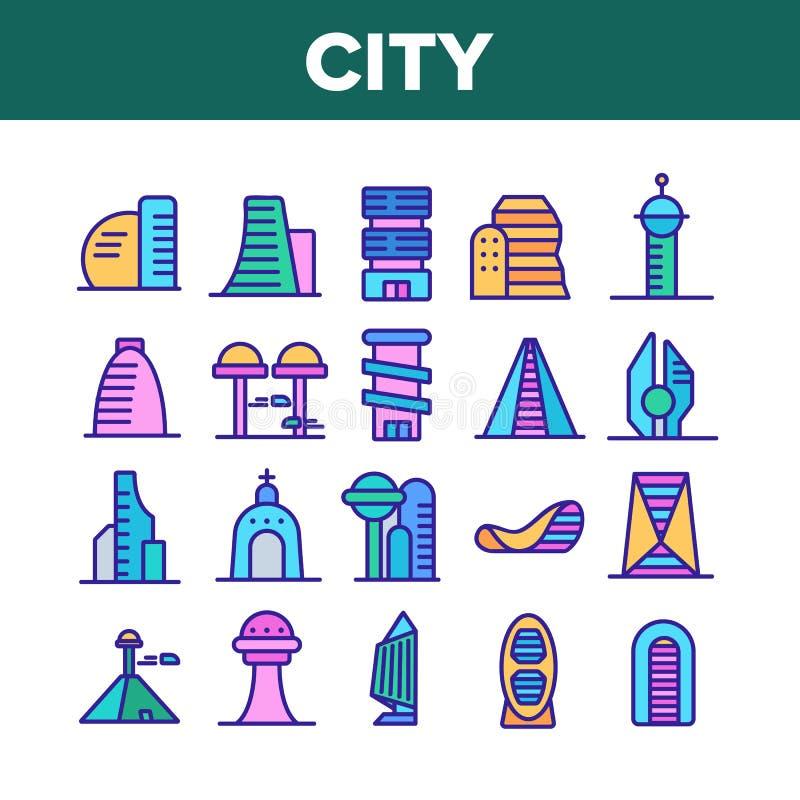 City Modern Building Collection Icons Set Vector vektor abbildung