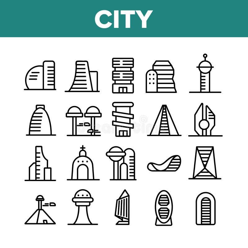 City Modern Building Collection Icons Set Vector stock abbildung