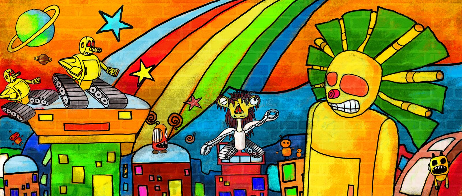 City monsters Future the colorful paint  Wall royalty free illustration