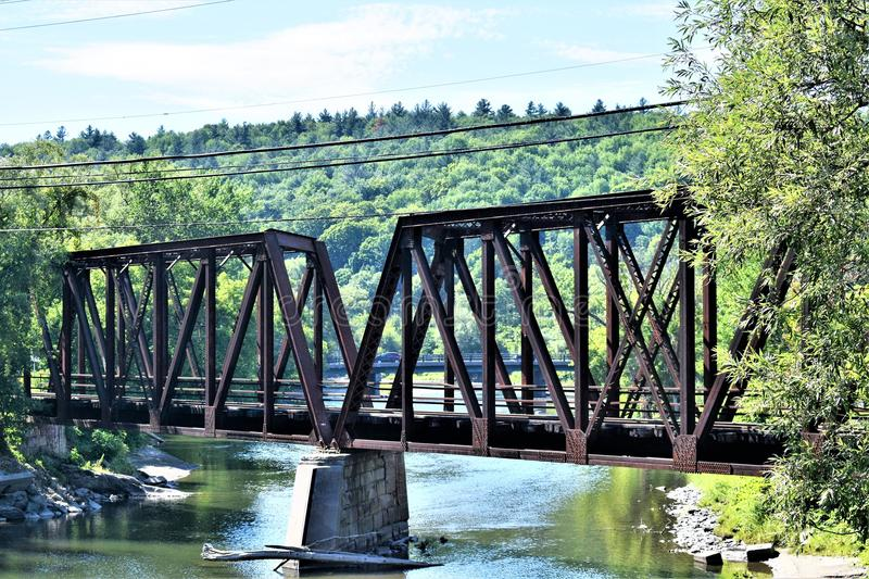 City of Montpelier, Washington County, Vermont, United States, State Capital. Bridge over Winooski river with surrounding scenic landscape located in Montpelier royalty free stock image