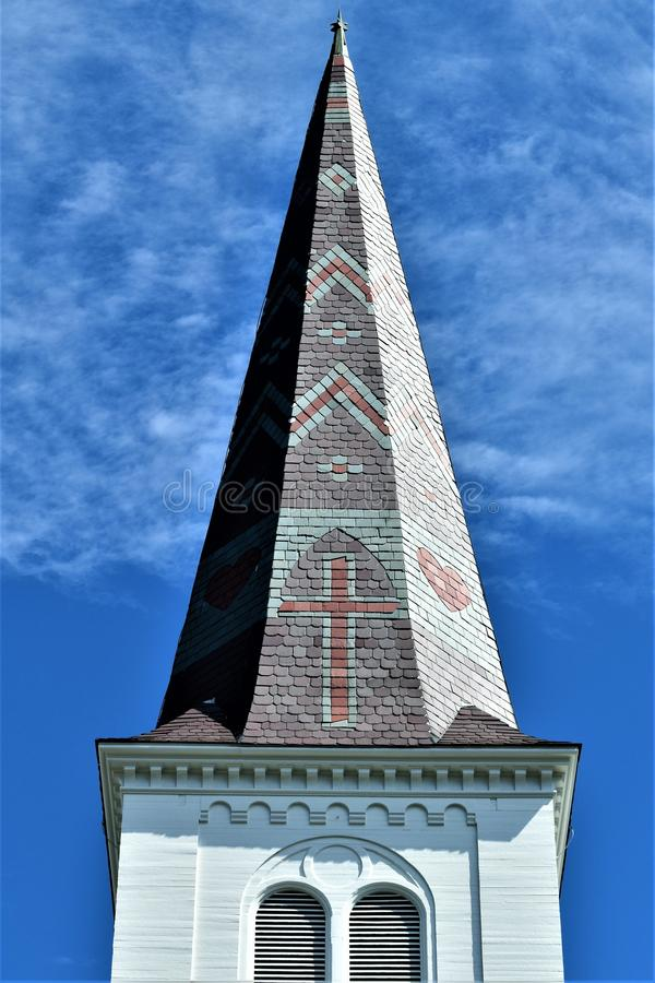 City of Montpelier, Washington County, Vermont, United States, State Capital. Steeple with surrounding scenic landscape located in Montpelier, Washington County stock photography