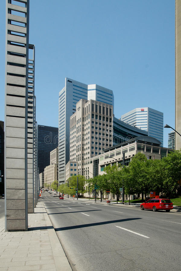 City of Montreal,Quebec. Robert Bourassa boulevard in downtown Montreal,Quebec, Canada stock images