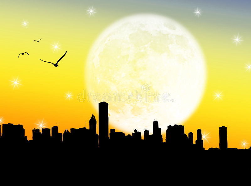 Download City in the moon stock illustration. Image of city, architecture - 5912328