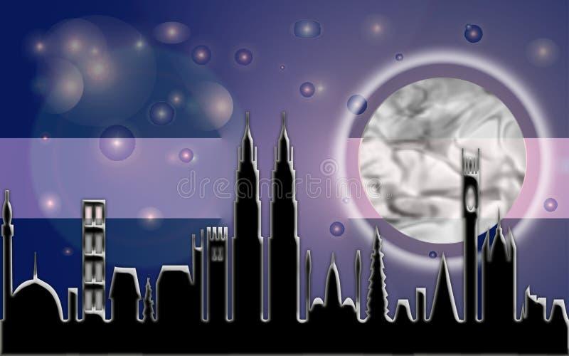 Download City Moon Beam stock illustration. Illustration of monk - 73713