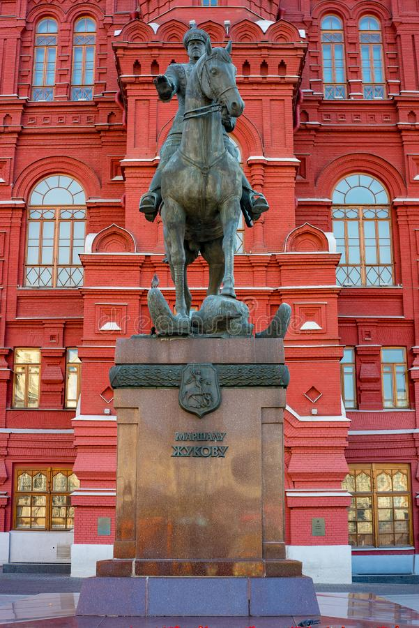 City the Moscow .The monument to Marshal G. K. Zhukov.the Beautiful places that fascinate tourists.22.09.2018. City the Moscow .The monument to Marshal G. K stock images