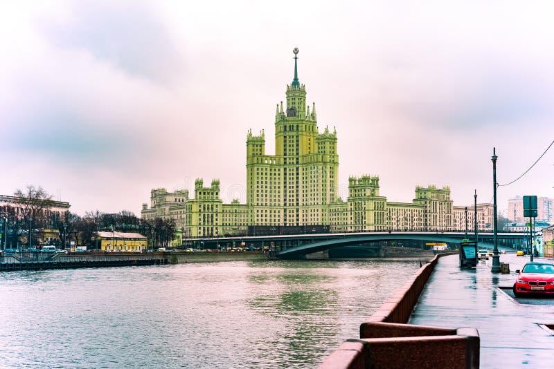 City the Moscow  .Raushskaya embankment.high-Rise on Kotelnicheskaya embankment.view of the great ustyinsky bridge. City the Moscow .Raushskaya embankment.high royalty free stock photos