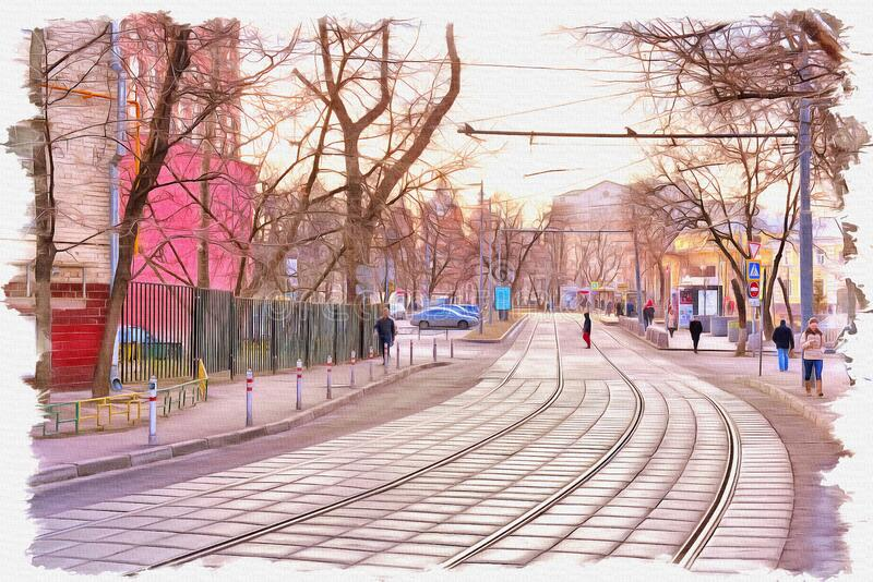 City Moscow. Sadovnichesky passage. Imitation of a picture. Oil paint. Illustration stock image