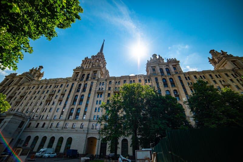 View of `hotel Ukraine`  from Taras Shevchenko embankment. City the Moscow .view of `hotel Ukraine` from Taras Shevchenko embankment.Russia.2019 stock images