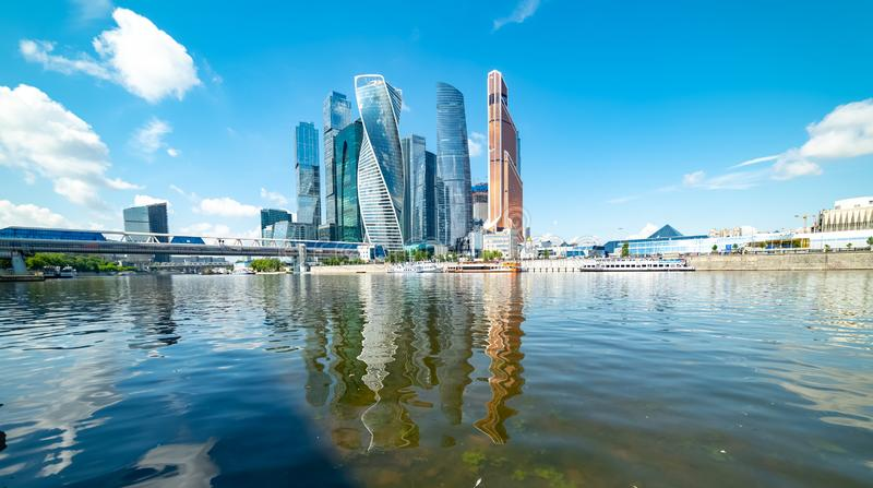 View of `Moscow city` from Taras Shevchenko emba nkment. City the Moscow .view of `Moscow city` from Taras Shevchenko embankment.Russia.2019 stock photo