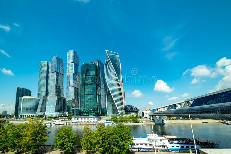 View of `Moscow city`  from Taras Shevchenko embankment. City the Moscow .view of `Moscow city` from Taras Shevchenko embankment.Russia.2019 stock image