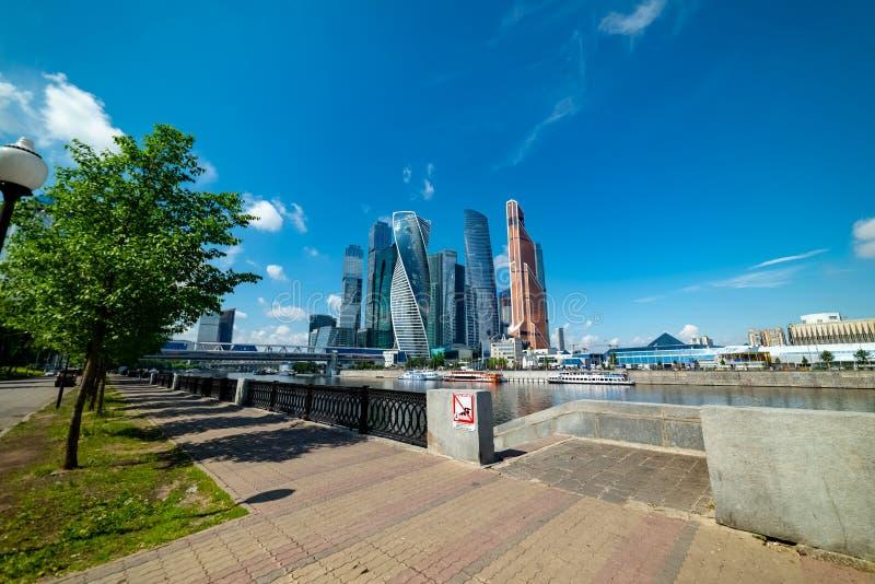 View of `Moscow city`  from Taras Shevchenko embankment. City the Moscow .view of `Moscow city` from Taras Shevchenko embankment.Russia.2019 royalty free stock photos