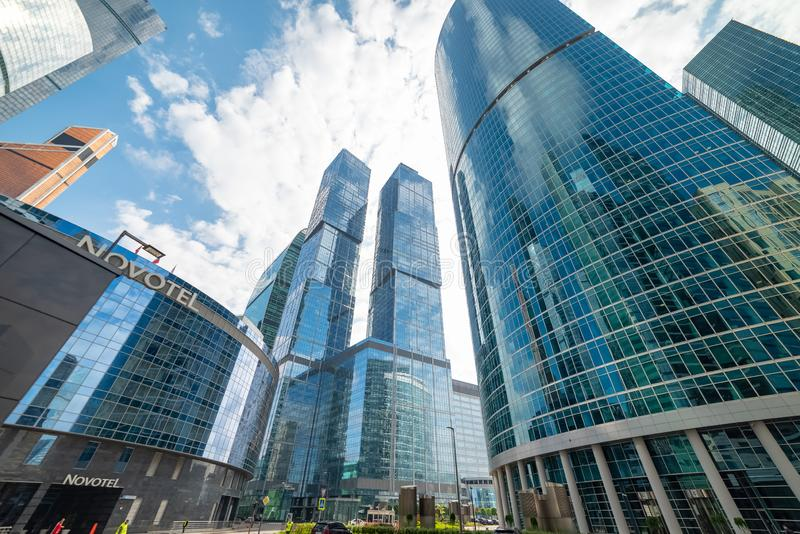 Waterfront tower» — the complex of three buildings of different floors. City the Moscow . Waterfront tower — the complex of three buildings of stock photos