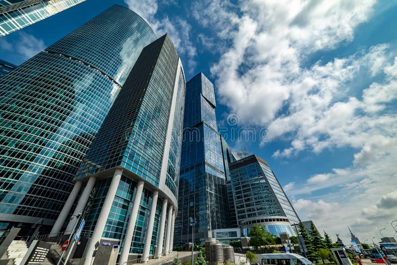 Waterfront tower —  the complex of three buildings of different floors royalty free stock photography