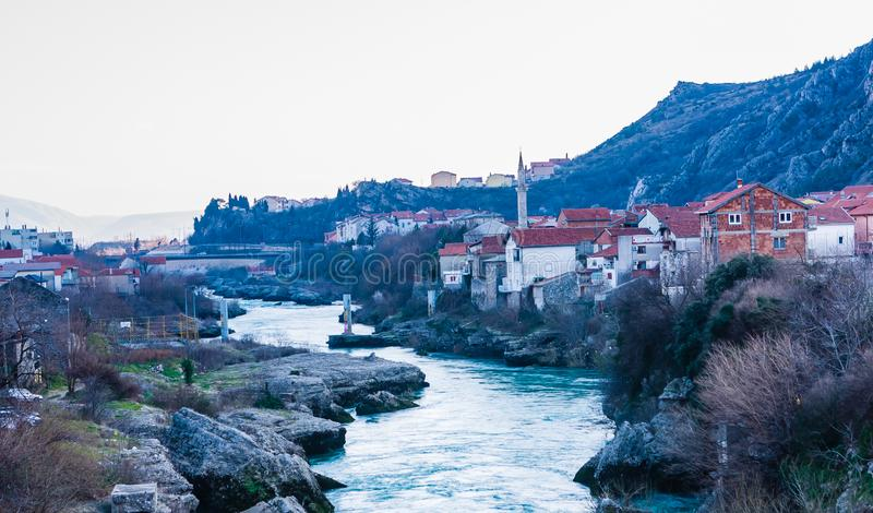 City of Mostar on the Neretva River, Bosnia-Herzegovina. View of City of Mostar on the Neretva River, Bosnia-Herzegovina royalty free stock images