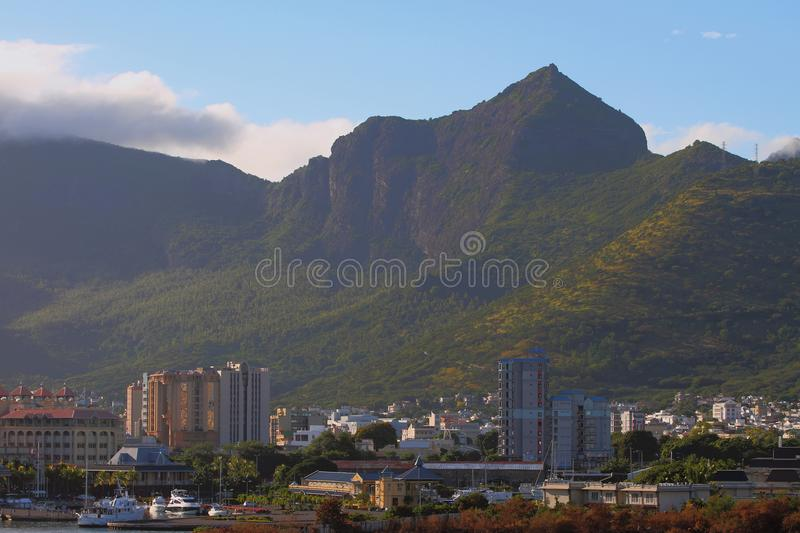 City at mountain foot. Port Louis, Mauritius. 22-01-2016 royalty free stock image