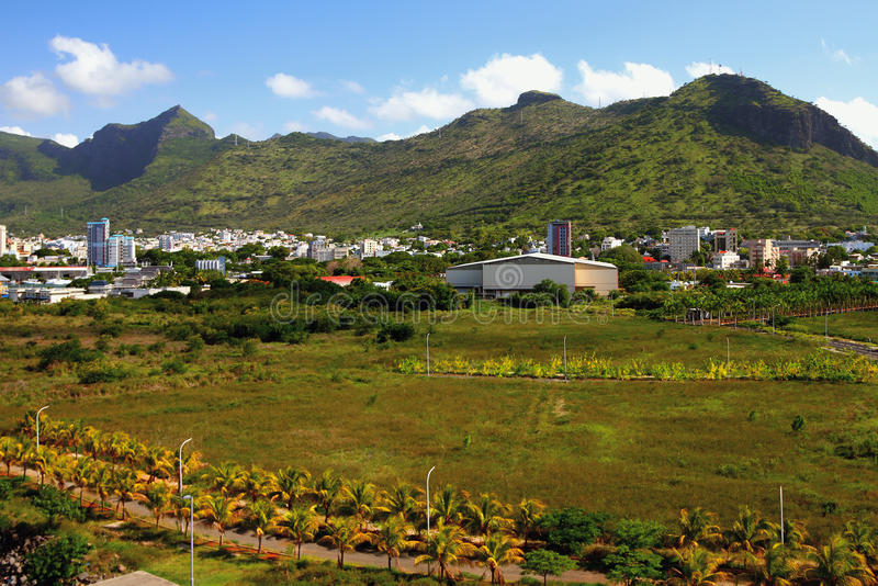 City at mountain foot. Port Louis, Mauritius. 09-01-2016 royalty free stock photography