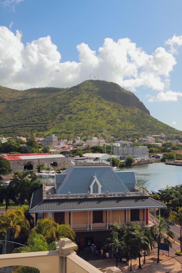 City at mountain Moka foot. Port Louis, Mauritius. 08-01-2016 royalty free stock photography