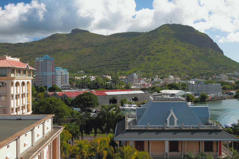 City and mountain Moka. Port Louis, Mauritius. 08-01-2016 stock image