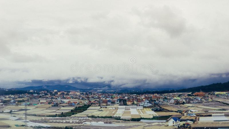 City in an mountain royalty free stock photos