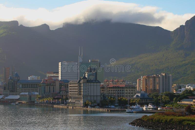 City and mountain ridge on coast. Port Louis, Mauritius. 22-01-2016 royalty free stock image